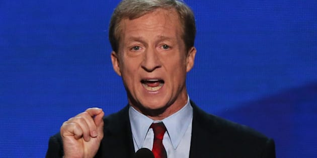 CHARLOTTE, NC - SEPTEMBER 05:  Co-Founder of Advanced Energy Economy Tom Steyer speaks during day two of the Democratic National Convention at Time Warner Cable Arena on September 5, 2012 in Charlotte, North Carolina. The DNC that will run through September 7, will nominate U.S. President Barack Obama as the Democratic presidential candidate.  (Photo by Alex Wong/Getty Images)