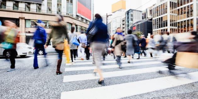 Ginza Shopping District Rushing Pedestrians Tokyo Japan