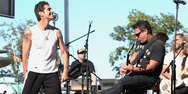 CHICAGO, IL - AUGUST 03:  Perry Farrell and Peter DiStefano of Porno for Pyros perform at Kidzapalooza during Lollapalooza 2013 at Grant Park on August 3, 2013 in Chicago, Illinois.  (Photo by Taylor Hill/FilmMagic)
