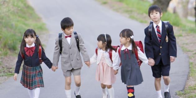 Children in Formal Suit Walking Together, Holding Hands