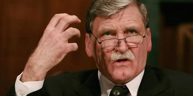 Washington, UNITED STATES: Canadian Lt. Gen. Romeo Dallaire, former commander of the United Nations peacekeeping force in Rwanda, testifies before the Senate Human Rights and the Law Subcommittee during the 'Genocide and the Rule of Law' hearing on Capitol Hill in Washington 05 February 2007.       AFP PHOTO/Jim WATSON (Photo credit should read JIM WATSON/AFP/Getty Images)