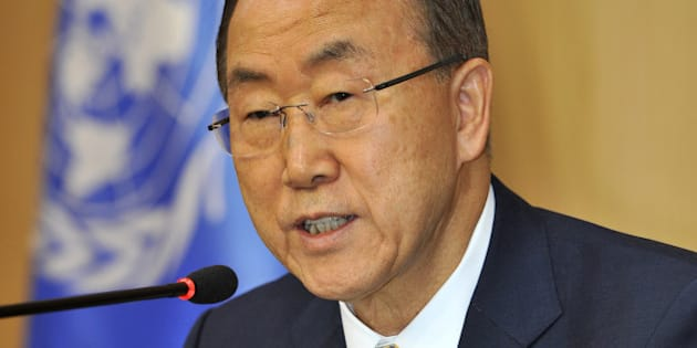 UN Secretary General Ban Ki-Moon speaks at a press conference during a visit to Seoul on August 26, 2013.  Ban said on August 26 there was no time to waste as UN experts prepared to investigate a suspected Syrian chemical attack, with Washington suggesting the probe was already too late.      AFP PHOTO / TRUTH LEEM        (Photo credit should read Truth LEEM/AFP/Getty Images)