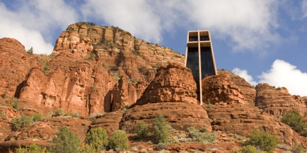 Chapel of the Holy Cross, Sedona, Arizona. Exterior view of a chapel built into the side of a mountain.