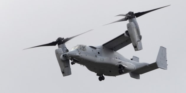 An MV-22 Osprey tiltrotor aircraft takes off to participate in a flying display on the second day of the Farnborough International Air Show in Farnborough, U.K., on Tuesday, July 10, 2012. The Farnborough International Air Show runs from July 9-15. Photographer: Matthew Lloyd/Bloomberg via Getty Images