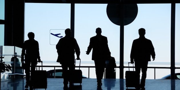 business travelers silhouette...