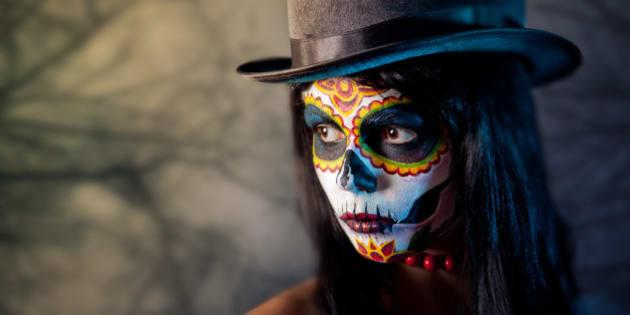 sugar skull girl in tophat  in...