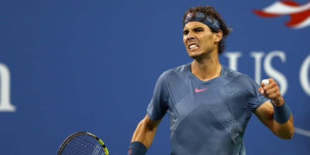 NEW YORK, NY - SEPTEMBER 09:  Rafael Nadal of Spain celebrates a point during his men's singles final match against Novak Djokovic of Serbia on Day Fifteen of the 2013 US Open at the USTA Billie Jean King National Tennis Center on September 9, 2013 in the Flushing neighborhood of the Queens borough of New York City.  (Photo by Elsa/Getty Images)