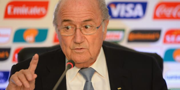 RIO DE JANEIRO, BRAZIL - JULY 01:  FIFA President Joseph S. Blatter addresses the media during the wrap up press conference after the FIFA confederation cup 2013 at Hotel Copacabana Palace on July 1, 2013 in Rio de Janeiro, Brazil.  (Photo by Stuart Franklin - FIFA/FIFA via Getty Images)
