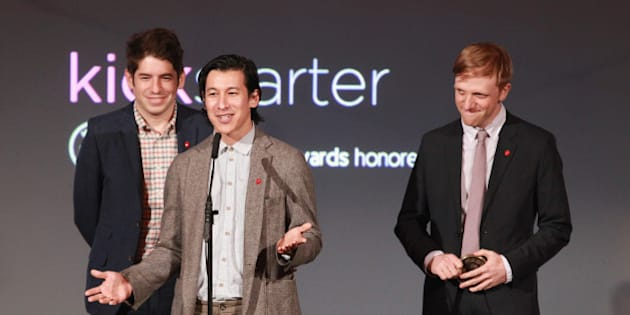 NEW YORK, NY - JUNE 04:  (L-R) Kickstarter co-founders Yancey Strickler, Perry Chen, and Charles Adler attend the 2012 Made In NY Awards at Gracie Mansion on June 4, 2012 in New York City.  (Photo by Taylor Hill/FilmMagic)