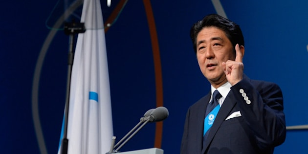 BUENOS AIRES, ARGENTINA - SEPTEMBER 07:  Prime Minister Shinzo Abe speaks during the Tokyo 2020 bid presentation during the 125th IOC Session - 2020 Olympics Host City Announcement at Hilton Hotel on September 7, 2013 in Buenos Aires, Argentina.  (Photo by Pool/Getty Images)