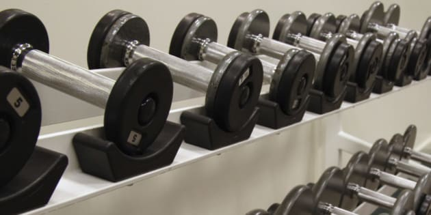 Two racks of free weights / dumbells at a health club. Canon 20D.