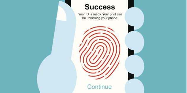 vector illustration Fingerprint unlock smart phone