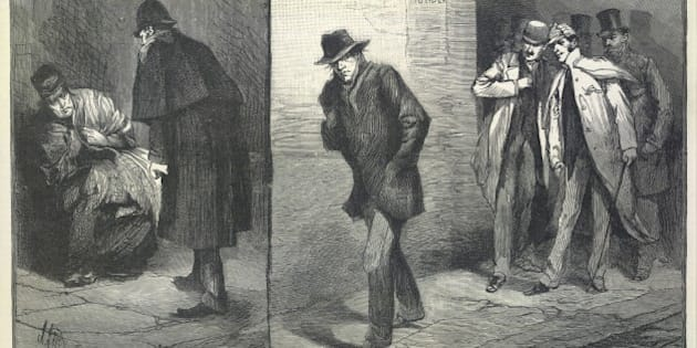 Suspicious characters 'With the vigilance commitee in the East End '. 'Homeless '. 'A suspicious character '. Illustrations made during the time of the Whitechapel or 'Jack the Ripper 'murders. Image taken from Illustrated London News. Originally published/produced in London 1888. (Photo by The British Library/Robana via Getty Images)