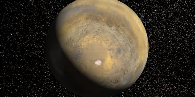 April 1999 - A mosaic of 24 images taken on a single northern summer day in April 1999 are stitched together to create a global view of Mars. We rotate the planet to reveal the South Pole. Viking data is used to fill in some of this region which is in darkness during this season. The landing site is located at latitude 76 degrees South, longitude 195 degrees West. A bright blue ellipse indicates the landing location of the landing site. The ellipse is 5 kilometers wide and 90 kilometers long. Launched January 3, Mars Polar Lander will set down gently on the Red Planet December 3 for the start of a three-month mission to help scientists study the planet's climate history. Polar Lander was launched toward a Colorado-sized area at about 75 degrees south latitude on Mars. Mission planners have been reviewing images and three-dimensional topographic measurements from NASA's orbiting Mars Global Surveyor mission to pick a safe and scientifically interesting spot to land.