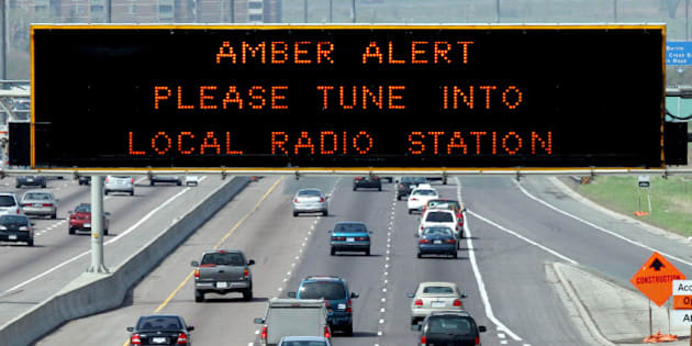 AMBER 1 / 05/14/05 -- Amber Alert is displayed on sign over westbound Highway 401 near Keele St. Police are hunting a man suspected of killing his estranged common-law wife and abducting their 2-year-old son. (Jim Wilkes/Toronto Star)jw (Photo by Jim Wilkes/Toronto Star via Getty Images)