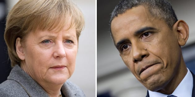 This combination of two pictures shows (at L) German Angela Merkel in Paris on February 6, 2012, and (at R) US President Barack Obama in Washington, DC, on October 8, 2013. Germany on October 24, 2013 summoned the US ambassador to Berlin over suspicions that Washington spied on Chancellor Angela Merkel's mobile phone, a foreign ministry spokeswoman said. Foreign Minister Guido Westerwelle will personally meet with US envoy John B. Emerson later Thursday, the spokeswoman told AFP, in a highly unusual step between the decades-long allies. AFP PHOTO / LIONEL BONAVENTURE - SAUL LOEB        (Photo credit should read LIONEL BONAVENTURE,SAUL LOEB/AFP/Getty Images)