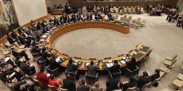 NEW YORK, NY - SEPTEMBER 28:  The United Nations Security Council meets at U.N. headquarters on September 28, 2011 in New York City. The Security Council met to discuss the Palestinian bid for full United Nations membership.  (Photo by Mario Tama/Getty Images)
