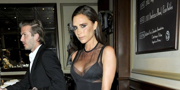 LOS ANGELES, CA - OCTOBER 23:  Designer Victoria Beckham attends a dinner to celebrate the 2013 CFDA/Vogue Fashion Fund Finalists hosted by Lena Dunham, Federico Marchetti, Diane von Furstenberg, and Anna Wintour at  Bouchon on October 23, 2013 in Los Angeles, California.  (Photo by Donato Sardella/WireImage)
