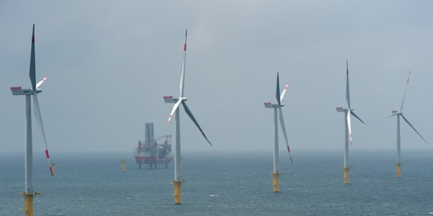 BORKUM, GERMANY - JUNE 23:  Wind turbines stand at the nearly completed Riffgat offshore wind farm in the North Sea on June 23, 2013 near Borkum, Germany in front of the jack-up installation vessel 'Bold Tern'. The Riffgat facility includes 30 turbines with a capacity of 3.6 megawatts each for a total output of 108 megawatts, enough to provide power to 120,000 households. Germany is pursuing the construction of offshore wind farms in the North Sea as well as the Baltic Sea, though some projects have been hampered by a lack of adequate undersea cables to bring the power on shore.  (Photo by David Hecker/Getty Images)