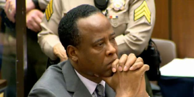LOS ANGELES, CA - NOVEMBER 29: Screen grab of Dr. Conrad Murray listening as Judge Michael Pastor sentences him to four years in county jail on November 29, 2011 for his involuntary manslaughter conviction of pop star Michael Jackson. PHOTOGRAPH BY Barcroft Media /Barcoft Media via Getty Images