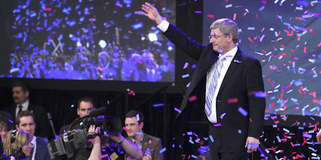 CALGARY, CANADA - MAY 2: Prime Minister Stephen Harper celebrates his majority government win in the federal election, May 2, 2011 in Calgary, Canada. Harper's conservatives rose to a majority government, while the New Democratic Party seized the official opposition. (Photo by Mike Ridewood/Getty Images)