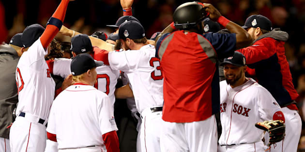 BOSTON, MA - OCTOBER 30:  The Boston Red Sox celebrate after defeating the St. Louis Cardinals in Game Six of the 2013 World Series at Fenway Park on October 30, 2013 in Boston, Massachusetts.Boston Red Sox defeated the St. Louis Cardinals 6-1.  (Photo by Elsa/Getty Images)