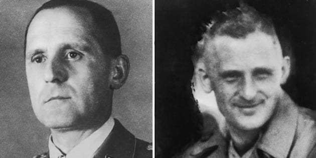 Gestapo Chief Heinrich Mueller, in his uniform (left) and in a trenchcoat (right), circa 1943. He disappeared in 1945 and his death has never been confirmed. (Photo by Paul Popper/Popperfoto/Getty Images)