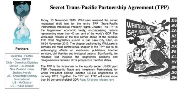 "WikiLeaksがTPP""秘密文書""を暴露「著作権侵害の非親告罪化」に10カ国賛成"