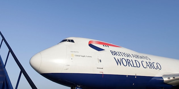LONDON, ENGLAND - NOVEMBER 14:  A British Airways World Cargo Boeing 747, carrying emergency relief supplies destined for the Philippines, pushes back  ready for take off at Stansted Airport on November 14, 2013 in London, England. The British Red Cross is airlifting 85 tonnes of relief materials to the areas of the Philippines devestated by Typhoon Haiyan.  (Photo by Matthew Lloyd/Getty Images)