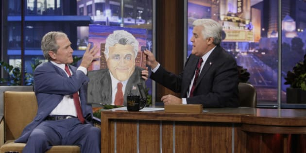 THE TONIGHT SHOW WITH JAY LENO -- Episode 4570 -- Pictured: (l-r) Former President George W. Bush during an interview with host Jay Leno on November 19, 2013 -- (Photo by: Stacie McChesney/NBC/NBCU Photo Bank via Getty Images)