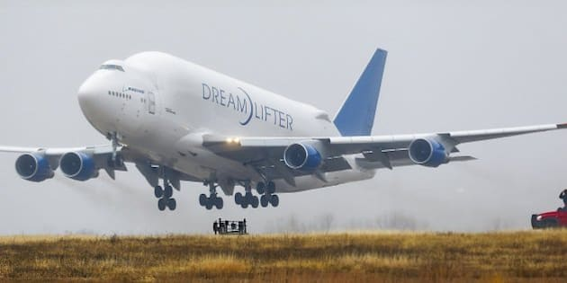 A Boeing 747 LCF Dreamlifter cargo plane takes off at Jabara airport in Wichita, Kan., on Thursday, Nov. 21, 2013. The plane was supposed to land at McConnell Air Force Base near Boeing's Wichita facility, but the pilot found the wrong airport. The plane was stuck at the airport until Boeing could determine if the runway was long enough for it to take off. (Fernando Salazar/Wichita Eagle/MCT via Getty Images)