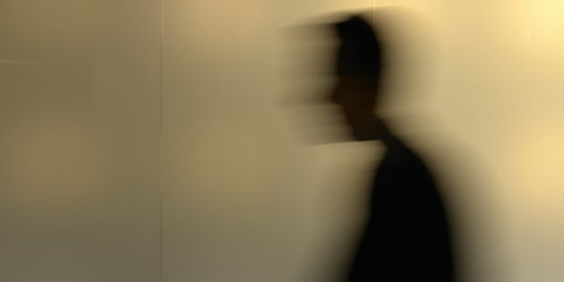 silhouette of a walking man ...