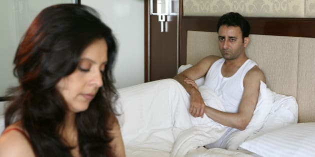 INDIA - JULY 16:  Models for the Sexless and the City in New Delhi, India (Couple in Badroom, Failing Libido, Sex, Health, Model, Sleeping)  (Photo by Hemant Chawla/The India Today Group/Getty Images)