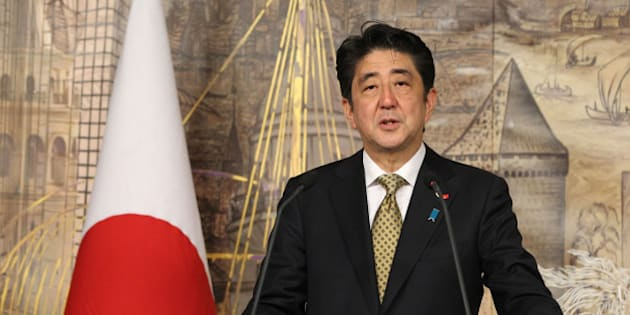 ISTANBUL, TURKEY - OCTOBER 29: Japanese PM Shinzo Abe (in the photo) speaks during a joint press conference with his Turkish counterpart Recep Tayyip Erdogan after an official meeting on October 29, 2013 at Prime Ministry office in Dolmabahce, Istanbul. (Photo By Ahmet Dumanli/Anadolu Agency/Getty Images)