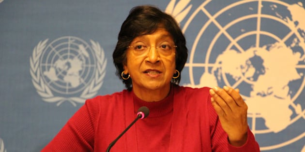GENEVA, SWITZERLAND - DECEMBER 2 :  UN High Commissioner for Human Rights Navi Pillay speaks during a press conference at the United Nations offices in Geneva on December 2, 2013.(Photo by Murat Unlu/Anadolu Agency/Getty Images)