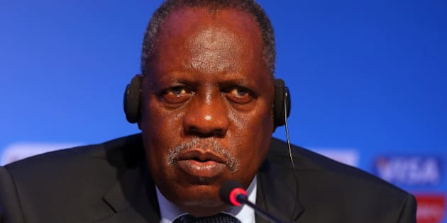 COSTA DO SAUIPE, BAHIA, BRAZIL - DECEMBER 03:  Issa Hayatou, Deputy Chairman of the Organizing Committee for the FIFA 2014 World Cup talks to the media during the FIFA World Cup 2014 Organizing Committee press conference at Costa do Sauipe Resort on December 3, 2013 in Costa do Sauipe, Bahia, Brazil.  (Photo by Alexander Hassenstein - FIFA/FIFA via Getty Images)