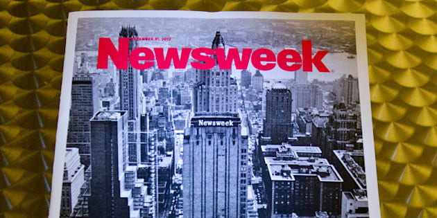 This December 24, 2012 photo shows the final print edition of Newsweek, seen here in Washington, DC. Newsweek ends its 80-year run as a weekly news magazine with a final print edition published this week with a December 31, 2012 date. The magazine went with a vintage photo of its old Midtown Manhattan headquarters in New York for the cover shot and a Twitter hashtage headline of '#lastprintissue.? AFP PHOTO / Karen BLEIER        (Photo credit should read KAREN BLEIER/AFP/Getty Images)