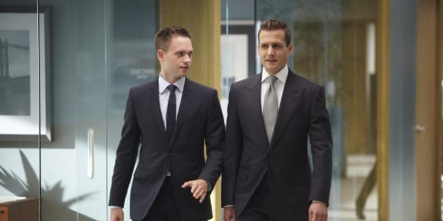 SUITS -- 'Bad Faith' Episode 309 -- Pictured: (l-r) Patrick J. Adams as Michael Ross, Gabriel Macht as Harvey Specter -- (Photo by: Ian Watson/USA Network)