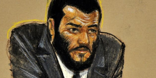 In this photo of a sketch by courtroom artist Janet Hamlin and reviewed by the U.S. Department of Defense, Canadian Omar Khadr is seen on the third day of his sentence trial at Camp Justice on Guantanamo Bay U.S. Naval Base in Cuba, Wednesday Oct. 27, 2010.  Khadr, who was 15 when captured by the U.S. after a fierce firefight in Afghanistan in 2002, pleaded guilty Monday to five war crimes charges as part of a plea deal that spared him from a possible life sentence and calls for sending him back to Canada after one more year in Guantanamo. (AP Photo/Janet Hamlin, Pool)