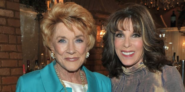 LOS ANGELES, CA - MARCH 24:  Actress Jeanne Cooper and actress Kate Linder attend CBS' 'Young and the Restless' 38th Anniversary cake cutting on March 24, 2011 in Los Angeles, California.  (Photo by Alberto E. Rodriguez/Getty Images)