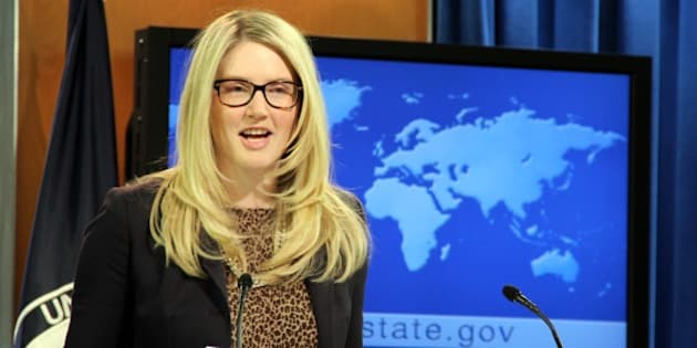 WASHINGTON DC, USA - DECEMBER 12:  State Department Spokesperson Marie Harf answering the journalists during the daily press briefing. (Photo by Erkan Avci/Anadolu Agency/Getty Images)