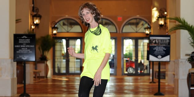 Prancercise founder and internet sensation Joanna Rohrback demonstrates her ?springy, rhythmic way of moving forward? at the Seminole Casino Coconut Creek on June 18, 2013 in Coconut Creek, Florida. (Photo by Jeff Daly/Invision/AP)