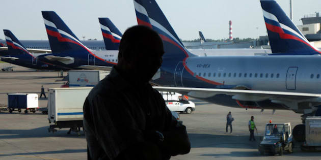 MOSCOW, RUSSIA - JULY 13: A Russian Aeroflot plane as seen through a window of Sheremetyevo airport on July 13, 2012 in Moscow, Russia. Snowden is still believed to have been staying in a hotel in the transit zone of Moscow's Sheremetyevo airport since he left Hong Kong. He is seeking refuge in Moscow in order to travel to Latin America, where he has been offered asylum.  (Photo by Epsilon/Getty Images)