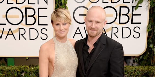 BEVERLY HILLS, CA - JANUARY 12:  Actors Robin Wright (L) and Ben Foster attend the 71st Annual Golden Globe Awards held at The Beverly Hilton Hotel on January 12, 2014 in Beverly Hills, California.  (Photo by Jason Merritt/Getty Images)