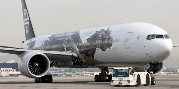 LOS ANGELES, CA - DECEMBER 02:  An Air New Zealand jet featuring Smaug the Dragon is seen at a Meet and Greet with cast members of 'The Hobbit: The Desolation of Smaug' at the LAX Flight Path Museum on December 2, 2013 in Los Angeles, California.  (Photo by David Livingston/Getty Images)