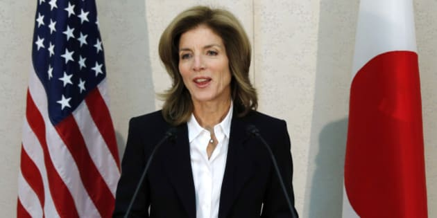 Caroline Kennedy, newly appointed U.S. ambassador to Japan, makes remarks upon her arrival at the Narita International Airport in Narita, Chiba Prefecture, Japan, on Friday, Nov. 15, 2013. Kennedy takes the post of U.S. Ambassador to Japan today, half a century after her father John's dream of becoming the first sitting president to visit the country was cut short. Photographer: Koji Sasahara/Pool via Bloomberg