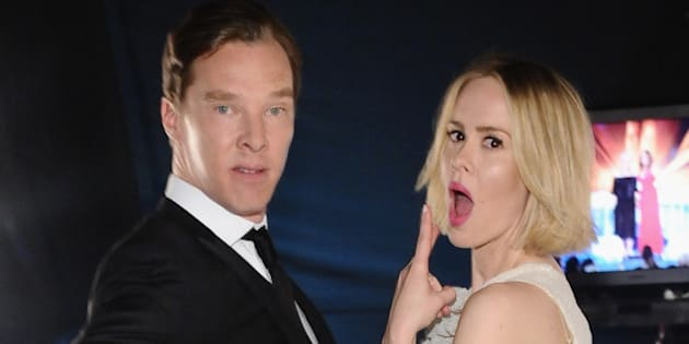 LOS ANGELES, CA - JANUARY 18:  Actors Benedict Cumberbatch and Sarah Paulson attend the 20th Annual Screen Actors Guild Awards at The Shrine Auditorium on January 18, 2014 in Los Angeles, California.  (Photo by Stefanie Keenan/WireImage)
