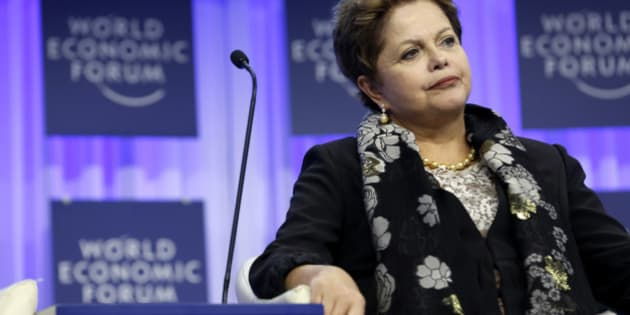 Dilma Rousseff, Brazil's president, pauses during a session on day three of the World Economic Forum (WEF) in Davos, Switzerland, on Friday, Jan. 24, 2014. World leaders, influential executives, bankers and policy makers attend the 44th annual meeting of the World Economic Forum in Davos, the five day event runs from Jan. 22-25. Photographer: Jason Alden/Bloomberg via Getty Images