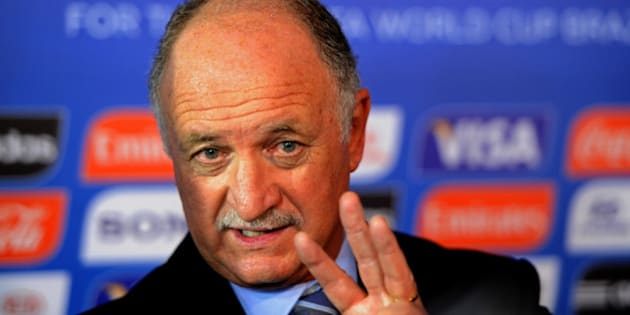 COSTA DO SAUIPE, BRAZIL - DECEMBER 06:  Brazil coach Luiz Felipe Scolari speaks to members of the media after the Final Draw for the 2014 FIFA World Cup Brazil at Costa do Sauipe Resort on December 6, 2013 in Costa do Sauipe, Bahia, Brazil.  (Photo by Buda Mendes/Getty Images)