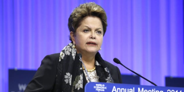 Dilma Rousseff, Brazil's president, speaks during a session on day three of the World Economic Forum (WEF) in Davos, Switzerland, on Friday, Jan. 24, 2014. World leaders, influential executives, bankers and policy makers attend the 44th annual meeting of the World Economic Forum in Davos, the five day event runs from Jan. 22-25. Photographer: Jason Alden/Bloomberg via Getty Images